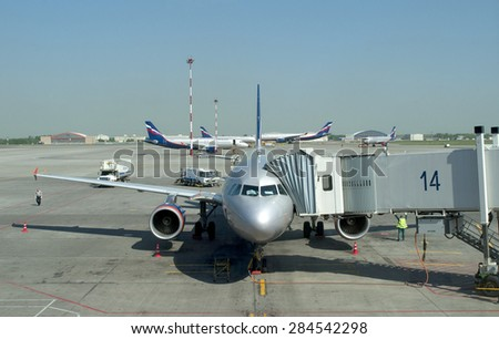 MOSCOW, RUSSIA - MAY 23, 2011: Sheremetyevo international airport. Passenger aircraft Airbus A-319 at boarding ladder