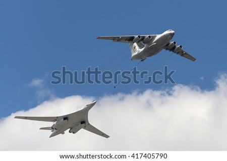 MOSCOW, RUSSIA - MAY 07, 2016: Simulation of in-flight refueling aircraft Il-78 and Tu-160 during flying over Red Square. Dress rehearsal of the Victory Day parade on Red Square.
