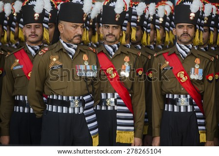 MOSCOW,RUSSIA-MAY9:Soldiers of the Indian Armed Forces' grenadier regiment after the military parade to mark the 70th anniversary of Victory in the1941-1945 Great Patriotic War on May 9,2015 in Moscow - stock photo