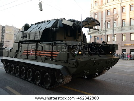 "MOSCOW, RUSSIA - MAY 05, 2016:Tactical air defense missile system ""Tor-M2U"" (SA-15 Gauntlet) the night rehearsal of parade in honor of the 71st anniversary of Victory in the great Patriotic war."