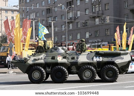 MOSCOW, RUSSIA, MAY 09 - The armored vehicle for landing force returns from the parade of Victory in the Second World War on May 09, 2012 in Moscow