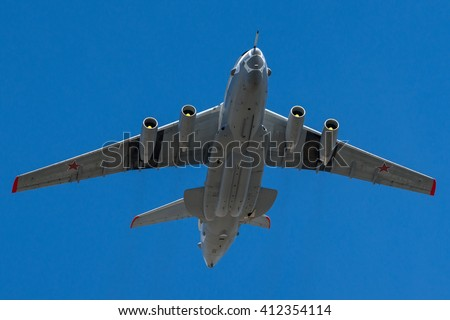 Moscow, Russia - May 9, 2013: The Beriev A-50 is a Soviet-built airborne warning and control system (AWACS) in flight at Parade of Victory in World War II May 9, 2013 in Moscow - stock photo