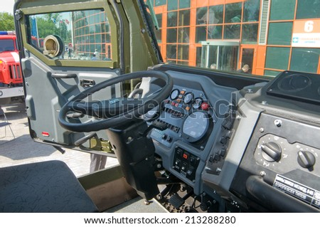 "MOSCOW, RUSSIA - may 20, 2014. The cab interior armored car Ural-4320VV at the exhibition ""Integrated safety and security-2014"", VVZ, Moscow"