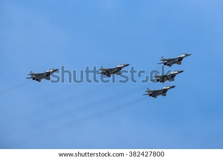 Moscow, Russia - May 9, 2015: The group of Russian fighters Mikoyan-Gurevich Mig-29 at Parade of Victory in World War II May 9, 2015 in Moscow