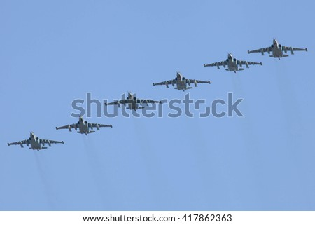 MOSCOW, RUSSIA - MAY 9, 2016: The group of Russian fighters Sukhoi Su-25 in the sky at Parade of Victory in World War II May 9, 2015 in Moscow