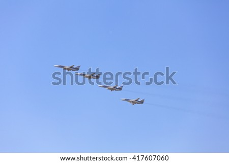 MOSCOW, RUSSIA - MAY 9, 2016: The group of Soviet strategic bomber Tupolev Su-24 (NATO reporting name: Fencer) in flight at Parade of Victory in World War II May 9, 2016 in Moscow