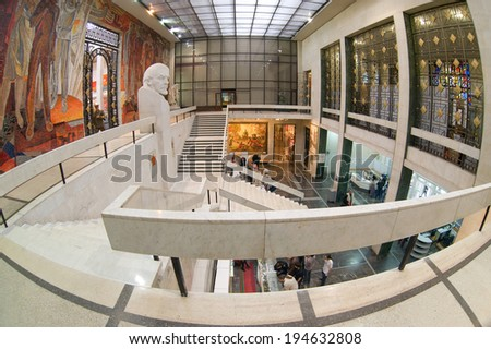 Moscow, Russia - may 4, 2013: the Main hall in the interior of the Central Museum of Armed Forces, Moscow. - stock photo