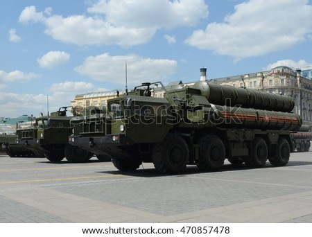 MOSCOW, RUSSIA - MAY 07, 2016:The S-400 Triumf (NATO reporting name: SA-21 Growler) is an anti-aircraft weapon system large and medium-range developed by Russia's Almaz Central Design Bureau.