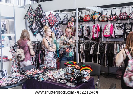 Moscow, Russia - May 27, 2016: The 8th Moscow International Tattoo Convention. Top fashion designer clothing and headgear - stock photo