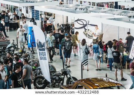 Moscow, Russia - May 27, 2016: The 8th Moscow International Tattoo Convention. Visitors and exhibitors, exhibits and models.