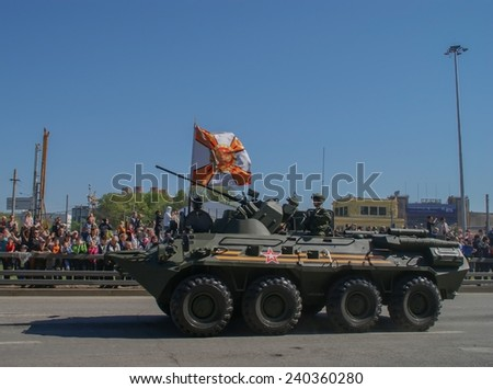 Moscow Russia may 9, 2014. The victory parade, the military on the BTR-80, back to the part. - stock photo