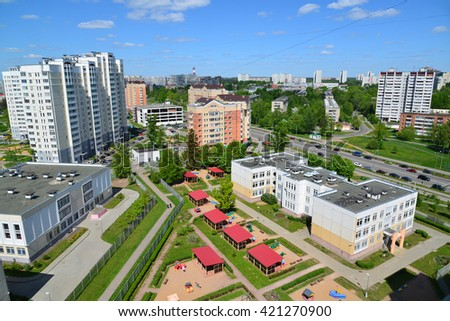 Moscow, Russia - May 13.2016. Top view  20 district of Zelenograd with kindergarten