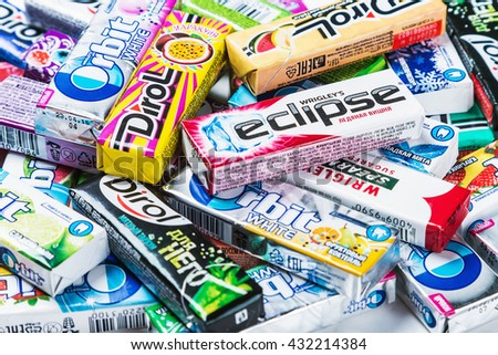 Moscow, RUSSIA - May 24, 2016: various brand chewing gum. chewing gum brands Orbit, Dirol, Eclipse, Stimorol, Wrigley's, Spearmint. a lot of chewing gum packages. focus on chewing gum Eclipse. - stock photo