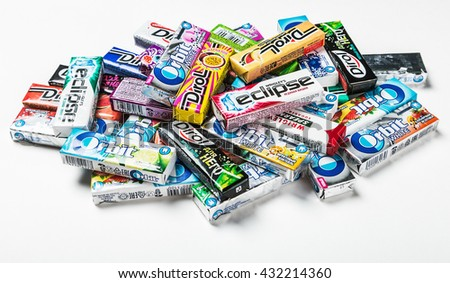 Moscow, RUSSIA - May 24, 2016: various brand chewing gum on a white background. bubble gum brands Orbit, Dirol, Eclipse, Stimorol, Wrigley, Spearmint - stock photo