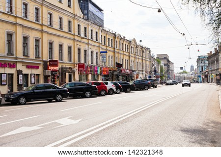 "MOSCOW, RUSSIA - MAY 11: View of Pokrovka street to Maroseyka in Moscow, Russia on May 5, 2013. Street was formed in 17th century from the ""royal road"", in which the king went to his villages"