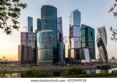 MOSCOW, RUSSIA - MAY 08, 2016: View of the business complex Moscow City in the evening.