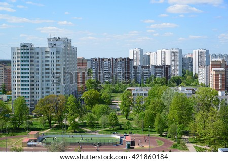 Moscow, Russia - May 13.2016. Zelenograd panorama from a height