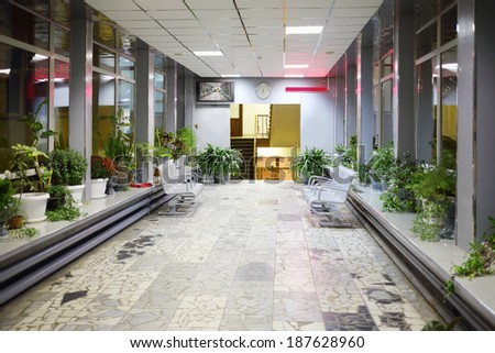 MOSCOW, RUSSIA - NOV 21, 2013: Hallway of Russian State University of Cinematography. First in world state film school was founded in 1919 in Moscow. - stock photo