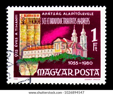 MOSCOW, RUSSIA - NOVEMBER 25, 2017: A stamp printed in Hungary shows Tihany Benedictine Abbey and Deed, Buildings serie, circa 1980