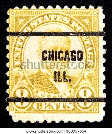 MOSCOW RUSSIA - NOVEMBER 25, 2012: A stamp printed in the United States of America 8 cents value shows Ulysses Simpson Grant, 18th President of USA 1869-1877, circa 1930 - stock photo