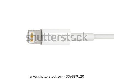 MOSCOW, RUSSIA - NOVEMBER 07, 2015: Apple Lightning Connector used to connect mobile devices iPhones, iPads and iPods to host computers. - stock photo