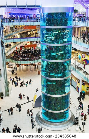 Moscow, Russia - November 30,2014:Aviapark-shopping and entertainment, located in Moscow.The total area is 390,000 square meters, sales area - 230,000 square meters, making it the largest in Europe - stock photo