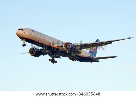 Moscow, Russia - November 02, 2013: Boeing 777 Aeroflot VP-BGF  landing at the Moscow Sheremetyevo International airport.