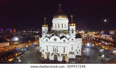 MOSCOW, RUSSIA - NOVEMBER 18, 2013: Cathedral of Christ the Savior at night, aerial view. Temple destroyed by December 5, 1931 is recreated in 1994 - 2000