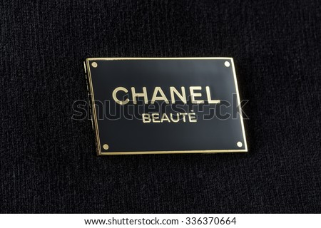 MOSCOW, RUSSIA - NOVEMBER 07 , 2015: Photo Chanel Logo at  cosmetic bag.