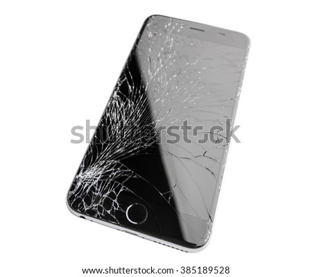 Moscow, Russia - November 22, 2015: Photo of iPhone 6 plus with broken display. Modern smartphone with damaged glass screen isolated on white background. Device needs repair. - stock photo
