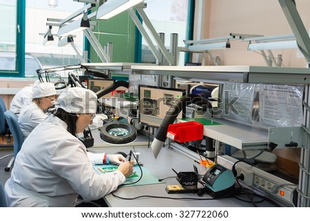 MOSCOW, RUSSIA - November 27, 2014 - Production of electronic components  at high-tech factory - stock photo