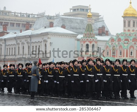 MOSCOW, RUSSIA - NOVEMBER 7, 2014: The cadets of the Moscow cadet corps on a parade dedicated to November 7, 1941 on Red Square in Moscow.