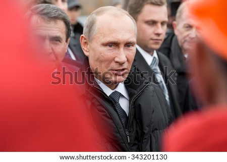 Moscow, Russia - November 24, 2015: Vladimir Vladimirovich Putin (Russian President) in car - stock photo