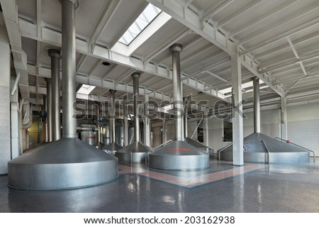 MOSCOW, RUSSIA, OCHAKOVO BREWERY - JUN 13, 2013: The biggest Russian company beer and beverage industry. The interior of the brewery, mash vats