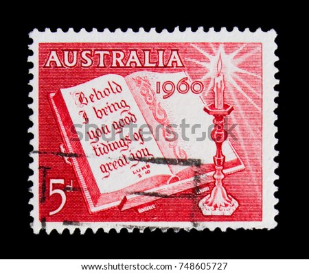 MOSCOW, RUSSIA - OCTOBER 3, 2017: A stamp printed in Australia shows Bible passage Luke 2/10 and chandelier, 