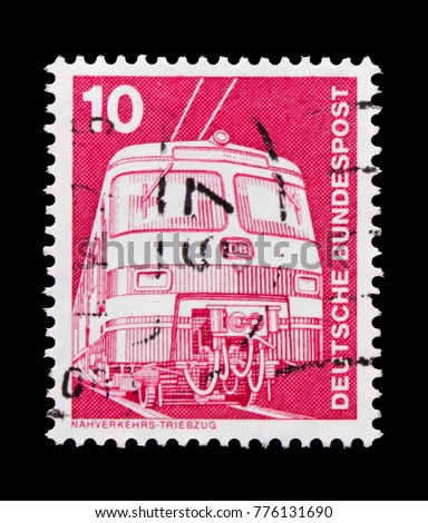 MOSCOW, RUSSIA - OCTOBER 21, 2017: A stamp printed in German Federal republic shows Commuter train ET 420/421, Industry and Technology Definitives 1975-1982 serie, circa 1975