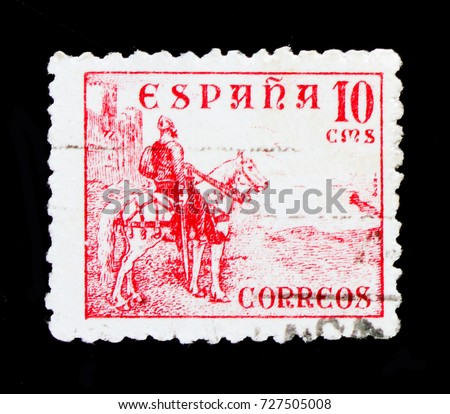 MOSCOW, RUSSIA - OCTOBER 1, 2017: A stamp printed in Spain shows El Cid, 