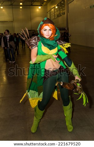 MOSCOW, RUSSIA, October 2: Comic Con attendee poses in the costume during Comic Con 2014 at The Crocus Center on October 2, 2014 in Moscow, Russia. - stock photo
