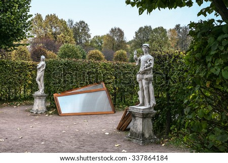 Moscow, Russia - October 17, 2015: Country estate of the count Pyotr Sheremetev in Kuskovo. Park sculpture of Mercury will cover from snow soon.