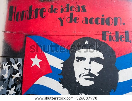 MOSCOW, RUSSIA - OCTOBER 06, 2015: Graffiti of Che Guevara designed by unknown artist on a wall in Moscow, Russia - stock photo