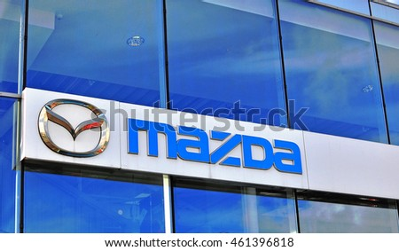 MOSCOW, RUSSIA - OCTOBER 10, 2015: Logo of Mazda corporation on October 10, 2015. Mazda is a world-famous Japanese automotive manufacturer.