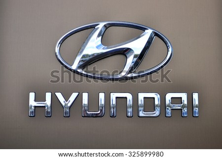 MOSCOW, RUSSIA - OCTOBER 10, 2015: Logotype of Hyundai corporation on October 10, 2015. Hyundai is the South Korea's automotive manufacturer.  - stock photo