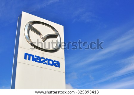 MOSCOW, RUSSIA - OCTOBER 10, 2015: Logotype of Mazda corporation on October 10, 2015. Mazda is the Japanese automotive manufacturer.