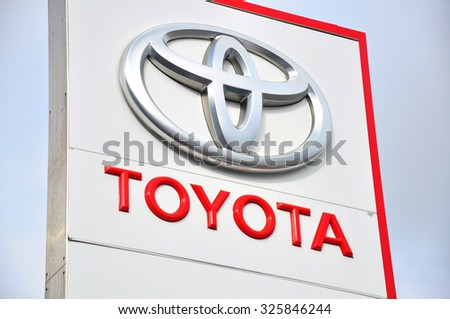 MOSCOW, RUSSIA - OCTOBER 10, 2015 : Logotype of Toyota corporation on October 10, 2015. Toyota is the Japanese automotive manufacturer.  - stock photo