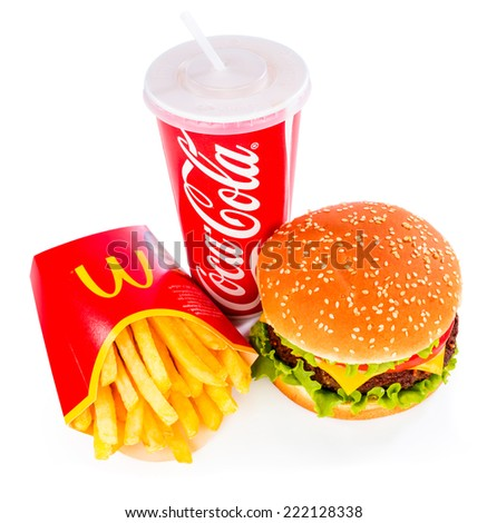 MOSCOW, RUSSIA-October 6, 2014: McDonald's food. McDonald's Corporation is the world's largest chain of hamburger fast food restaurants, serving around 68 million customers daily in 119 countries - stock photo