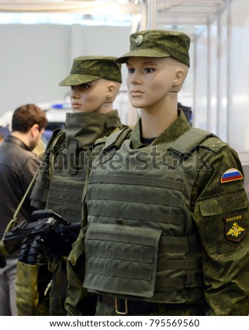 MOSCOW, RUSSIA - OCTOBER 20, 2015: Modern uniform of Russian army servicemen.