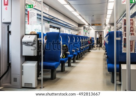 MOSCOW, RUSSIA - October 2, 2016: Moscow Central Circle or MCC. Built from 2013 till 2016 and opened to passengers on 10 September 2016. In the train