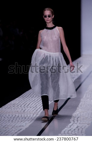 MOSCOW, RUSSIA - OCTOBER 26: Moscow Fashion Week, Designers present their collections for spring-summer 2015 on October 26, 2014 in Moscow, Russia.