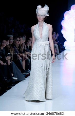MOSCOW, RUSSIA - OCTOBER 25: Moscow Fashion Week, Designers present their collections for spring - summer 2016 on October 25, 2015 in Moscow, Russia.
