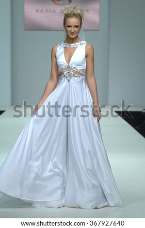 MOSCOW, RUSSIA - October 28, 2011: Moscow Fashion Week in Gostiny Dvor. Russian TV presenter Buzova in the show of fashion designer Nadejda Slavina - stock photo